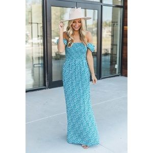 Pink Lily Boutique Teal Floral Maxi Dress